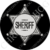 Premium Round Decal - Sheriff Badge - Black