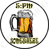 Premium Round Decal - Beer Mug - 5:PM Somewhere