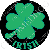 Premium Round Decal - Clover - Irish - Black