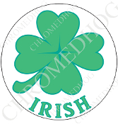 Premium Round Decal - Clover - Irish - White