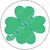 Premium Round Decal - Clover - White