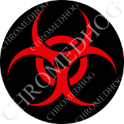 Premium Round Decal - Hazard - Red