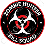 Premium Round Decal - Zombie Hunter - Red/ White