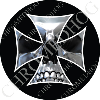 Premium Round Decal - Iron Cross - Chrome Skull - Black