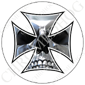 Premium Round Decal - Iron Cross - Chrome Skull - White