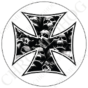 Premium Round Decal - Iron Cross - Skull Pile - White
