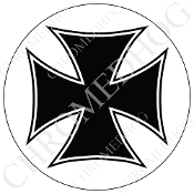 Premium Round Decal - Iron Cross - Black/ White