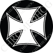 Premium Round Decal - Iron Cross - White/ Black