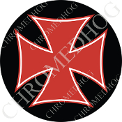Premium Round Decal - Iron Cross - Red/ Black