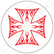 Premium Round Decal - Iron Cross - Red Flame - White/ White