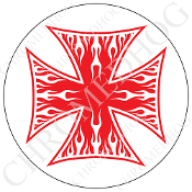 Premium Round Decal - Iron Cross - White Flame - Red/ White
