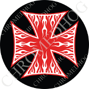Premium Round Decal - Iron Cross - White Flame - Red/ Black