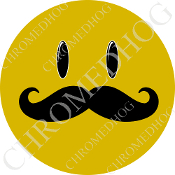 Premium Round Decal - Smile Face 'Stache