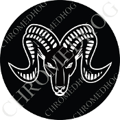 Premium Round Decal - Zodiac - Aries - W/B