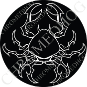 Premium Round Decal - Zodiac - Cancer - W/B
