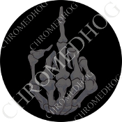 Premium Round Decal - Finger - Gray/ Black