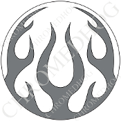 Premium Round Decal - Flame - Gray/ White