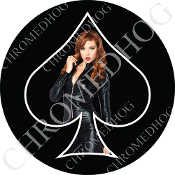 Premium Round Decal - Pin Up Spade - Jumper - Black/ Black