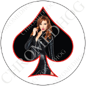 Premium Round Decal - Pin Up Spade - Jumper - Black/ White