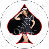 Premium Round Decal - Pin Up Spade - Navy - Black/ White
