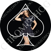 Premium Round Decal - Pin Up Spade - Navy - Black/ Black