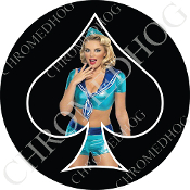 Premium Round Decal - Pin Up Spade - Sailor - Black/ Black