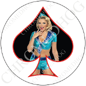 Premium Round Decal - Pin Up Spade - Sailor - Black/ White