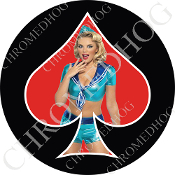 Premium Round Decal - Pin Up Spade - Sailor - Red/ Black