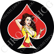 Premium Round Decal - Pin Up Spade - Yellow Dress - Red/ Black