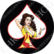 Premium Round Decal - Pin Up Spade - Yellow Dress - White/ Black