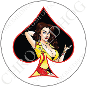 Premium Round Decal - Pin Up Spade - Yellow Dress - Black/ White