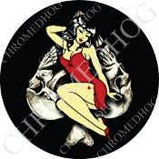 Premium Round Decal - Pin Up - Skull Spade