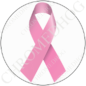 Premium Round Decal - Pink Ribbon - White