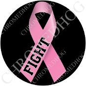 Premium Round Decal - Pink Ribbon - Black - Fight