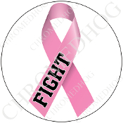 Premium Round Decal - Pink Ribbon - White - Fight