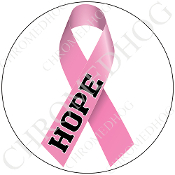 Premium Round Decal - Pink Ribbon - White - Hope