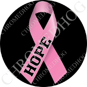 Premium Round Decal - Pink Ribbon - Black - Hope
