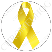 Premium Round Decal - Yellow Ribbon - White