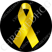 Premium Round Decal - Yellow Ribbon - Black