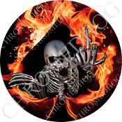 Premium Round Decal - Skeleton - Fire Spade