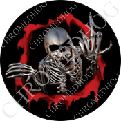 Premium Round Decal - Skeleton - Red