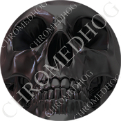 Premium Round Decal - Chrome Skull - Full Gray