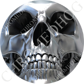 Premium Round Decal - Chrome Skull - Full