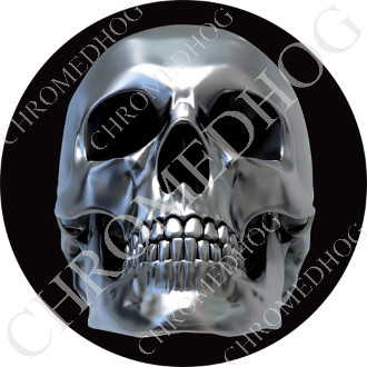 Premium Round Decal - Chrome Skull - Black