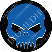 Premium Round Decal - Evil Skull - Blue/ Black