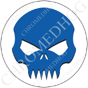 Premium Round Decal - Evil Skull - Blue/ White