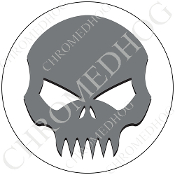 Premium Round Decal - Evil Skull - Gray/ White