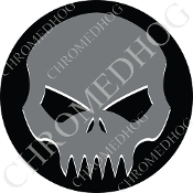 Premium Round Decal - Evil Skull - Gray/ Black