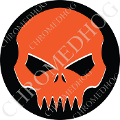 Premium Round Decal - Evil Skull - Orange/ Black