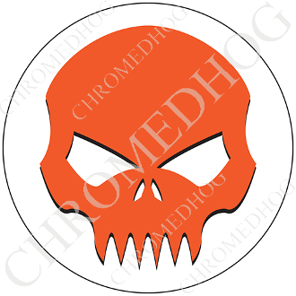 Premium Round Decal - Evil Skull - Orange/ White